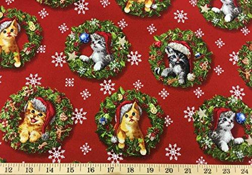 Christmas Kitty Cat Feline Santa Kitten Xmas Snowflake Red Holiday Handcrafted Curtain Valance