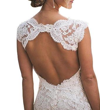 Nuojia Spitze Hochzeitskleider Standesamt Sexy Offen Zuruck
