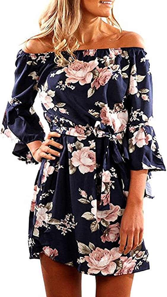 SVALIY Women Off Shoulder Ruffles Floral Tunic Casual Party Shift Short Dress at  Women's Clothing store