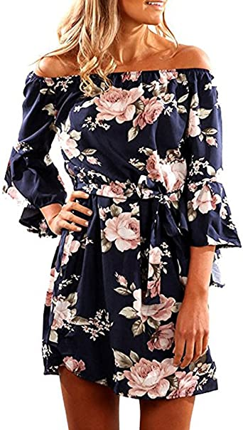 Womens Floral Off Shoulder Long Sleeve Dress Bodycon Summer Party Cocktail Tunic
