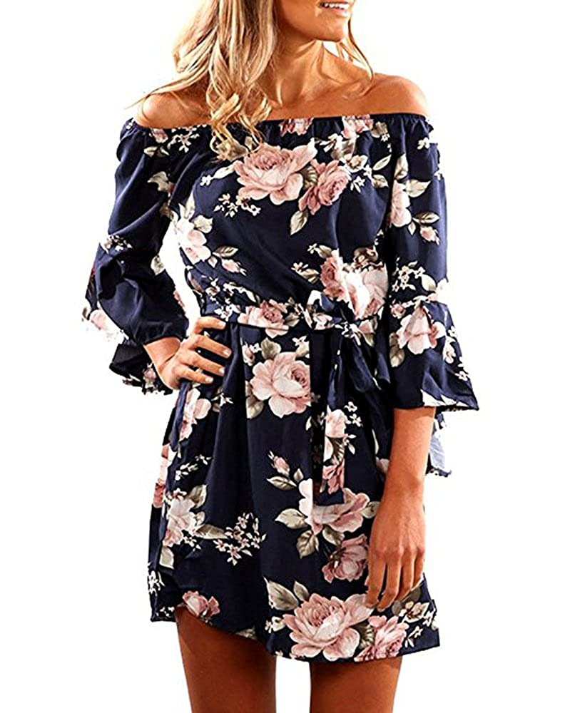 2947c6f4934 SVALIY Women Off Shoulder Ruffles Floral Tunic Casual Party Shift Short  Dress at Amazon Women s Clothing store