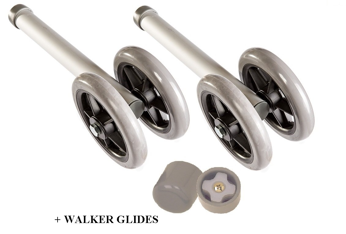 Heavy Duty Bariatric Walker Wheels Pair, Universal Replacement Wheel Kit for Walkers with Free Walker Glides Accessories Double 5'' Wheels with Glide Tips 1/pr By Healthline Trading