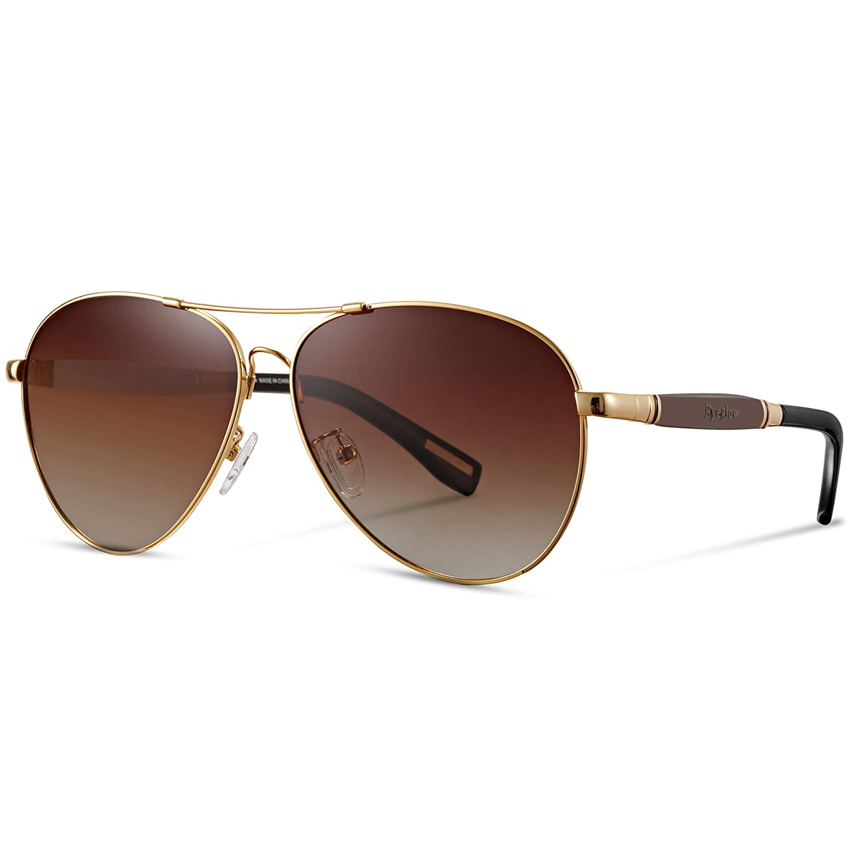 21fca333f2 Amazon.com  EyeGlow Aviator Brand Designer Sunglasses Men and Women  Polarized Lens Metal Material (Golden)  Clothing