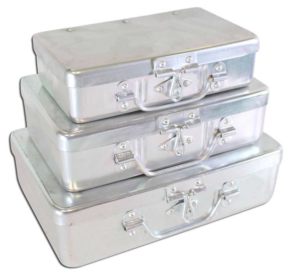Set Of 3 Aluminum Storage Boxes With Hinged Lids