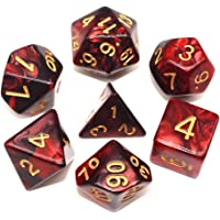 HD Dice DND RPG Polyhedral Dice Set Fit Dungeons and Dragons(D&D) Pathfinder Role Playing Games (Red & Black)