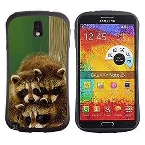 Exotic-Star Hybrid Heavy Duty Shockproof iFace Fundas Cover Cubre Case para Samsung Galaxy Note 3 III / N9000 / N9005 ( Familia linda del mapache feliz )