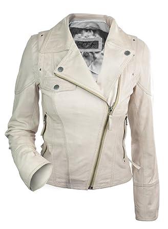 100% Leather Jacket Biker Style Vintage Cream Beige Soft Leather ...