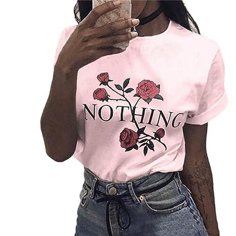 Yeamile💋💝 Camiseta de Mujer Tops Negro Blusa Causal Ocasionales Tops Sueltos Camiseta Rose Impresión