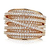 Sterling Silver 14K Gold or Rose Gold Plated Intertwined Design CZ Beautiful Pave Right Hand Ring 15mm, 6