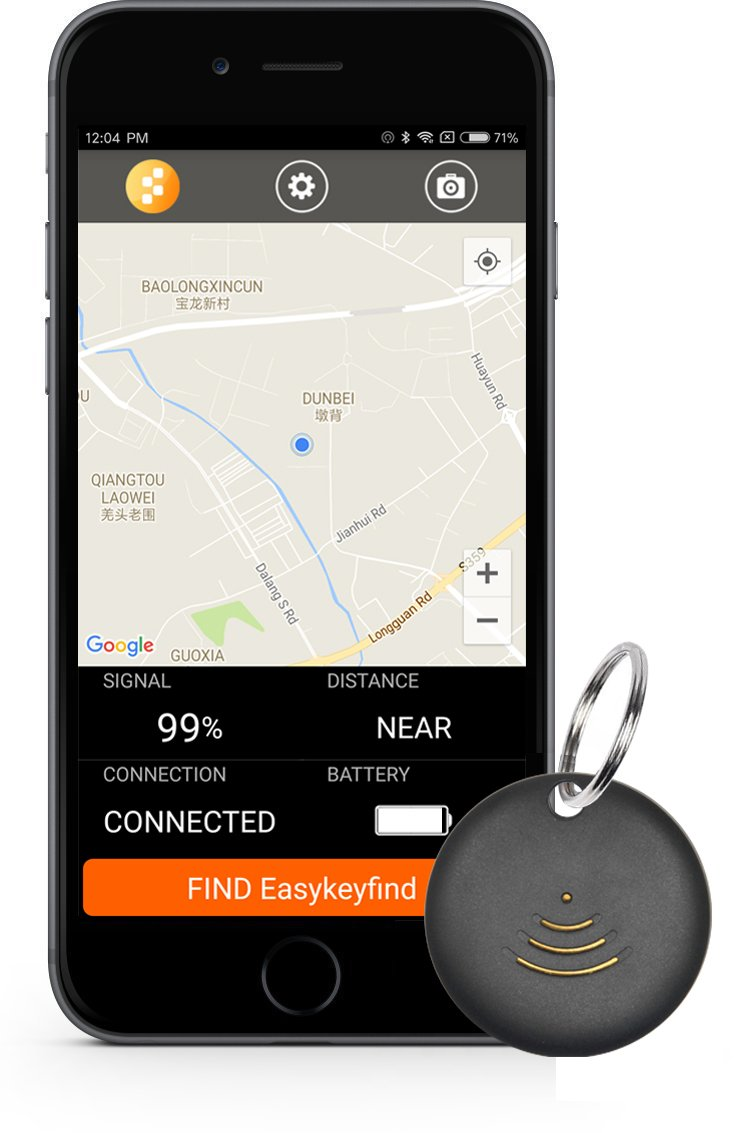 Key finder. GPS tracker for vehichles. Remote shutter. IP67 Waterproof. Bidirectional finding things. App control for iOS or Android OS devices. -1 Pack (Black)