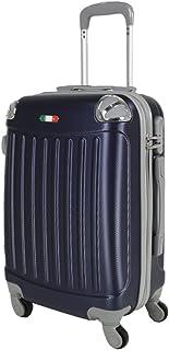 Trolley da cabina cm. 55 valigia rigida 4 ruote in abs policarbonato antigraffio e impermeabile compatibile voli lowcost come Easyjet Rayanair art 2022 / grande blu
