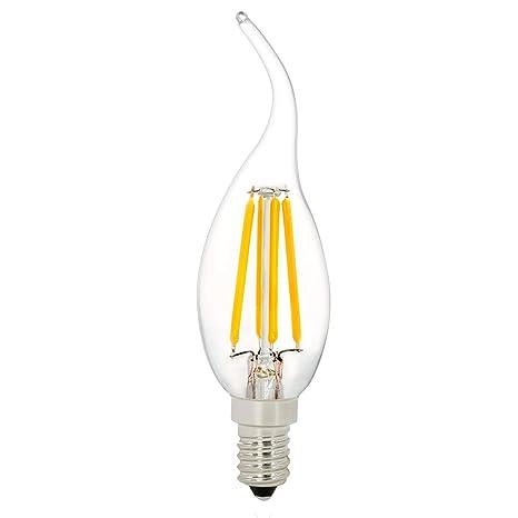 C35T 4W Bombilla de Filamento LED, NATIONALMATER , Bombilla LED Vela, Blanco Cálido 2700K