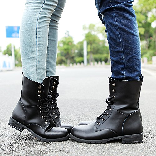 ALBBG Combat Boots Military Boots Woman's Punk Boots Martin Boots Lace Up Mid-Calf Ankle Boots Women's - stylishcombatboots.com