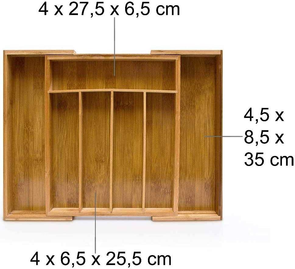 33,5 x 29 x 5 cm 2 a Scomparsa Colore Bamboo Naturale Salvaspazio BAKAJI Vassoio Portaposate da Cassetto Estendibile per Cucina in Legno di bamb/ù con 5 Scomparti Porta Posate