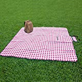 Extra Large Picnic & Outdoor Blanket with Waterproof Backing 90' x 80' (White&Red)