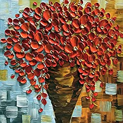 """baccow 2424"""" Hand Painted Red Orange Beauty in Bloom Flowers Painting Canvas Modern Contemporary Bouquet Framed Wall Art For Living Room Dining Room Office Bedroom …"""