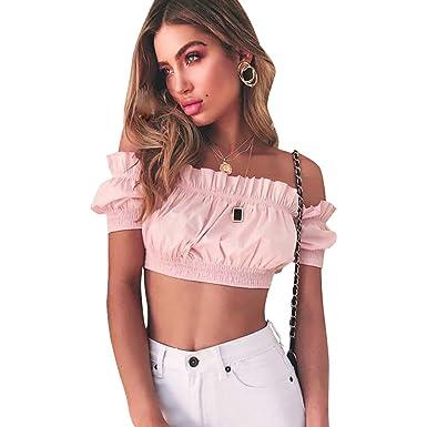 544813733cf74 Loalirando Crop-Top Femme Eté Sexy Col Bateau Manches Courte T-Shirt ...