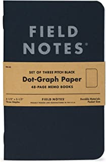 "product image for Field Notes Pitch Black Notebook - 3-Pack - Small Size (3.5"" x 5.5"") - Dot-Graph Paper"