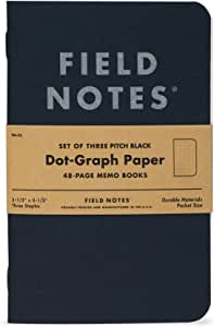 """Field Notes Pitch Black Notebook - 3-Pack - Small Size (3.5"""" x 5.5"""") - Dot-Graph Paper"""