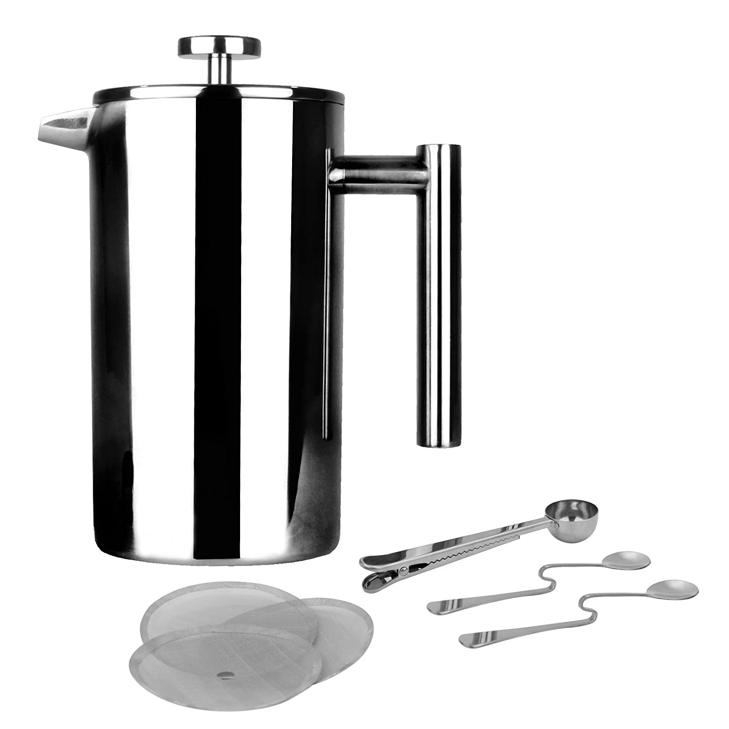 French Press Cafetiere | Stainless Steel Coffee Press Maker | FREE Extra Filters / Measuring spoons / Bag Clip | Double Walled Insulation | 7pc Coffee Gift Set | M& W 1500ml Xbite