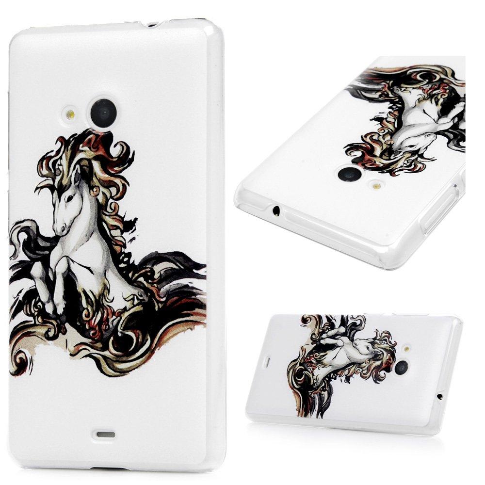 Nokia Microsoft Lumia 535 Coque, Lanveni PC Plastique Housse Hard Cover Case de Protection Creux Dessin Coloré Antichoc Anti-poussière -Courir le cheval