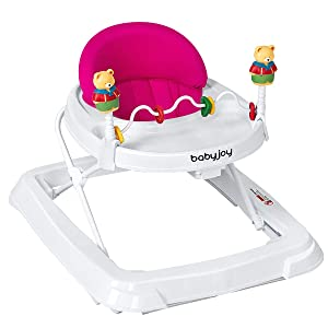 BABY JOY Baby Walker, Foldable Activity Walker Helper with Adjustable Height, Baby Activity Walker with High Back Padded Seat & Bear Toys, Pink
