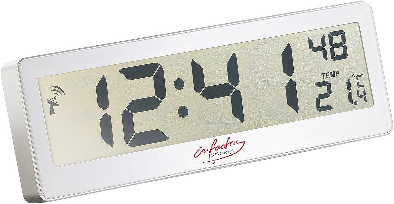 Infactory - Reloj controlado por radio con pantalla grande y radio digital (pantalla LCD grande, indicador de temperatura)