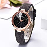 Whitegeese Women's Starry Sky Diamond Quartz Analog Watch Round Dial Wrist Watches with Magnetic Mesh Band Watches Clearance