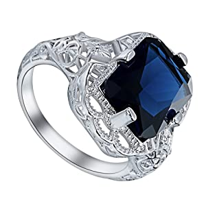 Blue CZ Zircon Crystal Jewelry Hollow Sterling Silver Finger Ring For Party Wedding Engagement