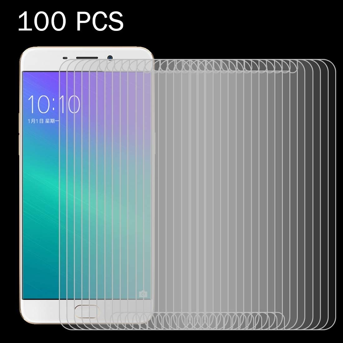 KOUYU Screen Protectors 100 PCS for Oppo R9 0.26mm 9H Surface Hardness 2.5D Explosion-Proof Tempered Glass Screen Film Tempered Film