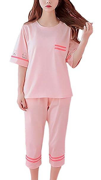 Pijamas Mujer Camisetas+3/4Pantalones Dos Piezas Elegante Manga Corta Cuello Redondo Print Patrón