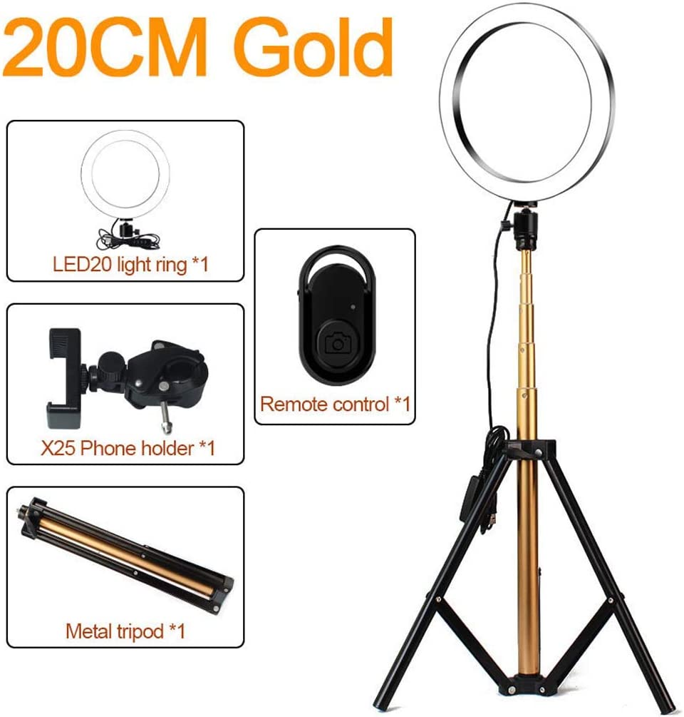 3200K-5600K Dimmable LED Ring Light with Stand and Phone Holder QCKDQ 8In LED Ring Light Lighting Kit Remote Control for Makeup Camera Shooting,Red