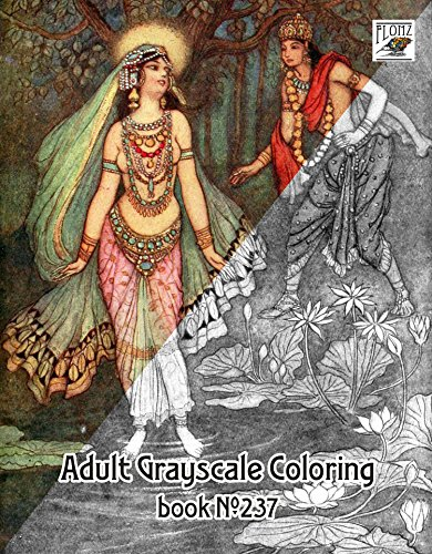 "Adult Coloring Book (24 pages 8""x11""/A4) Mdeiaeval Persian Indian Tales Warwick Goble FLONZ Vintage Designs for Grayscale Coloring"