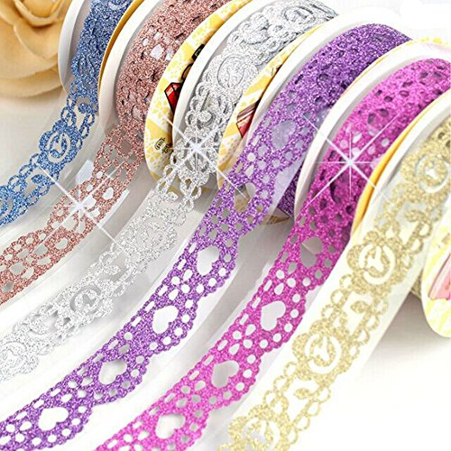B&Y Washi Tape ,Lace Pattern Glitter Bling Self-adhesive Tape,Diamond Washi Tape Masking DIY Scrapbooking Lace Tape Sticker, 6 Rolls Tape Color random