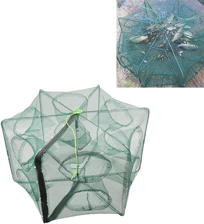 Surobayuusaku Hand-Casting Automatic Fishing Net Shrimp Cage Nylon Foldable Crab Fish Trap Cast Net Cast Folding Fishing Network 6 Holes