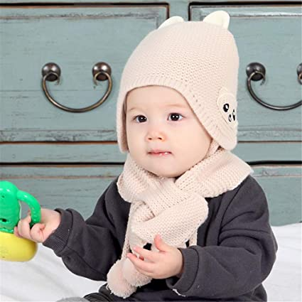 d0c6c87e348 .☀Warm Knit Hat Scarves with Ears Snow Neck Warmer Cap Christmas Gift for  Kids.2-Pieces Unisex Children Winter Warm Baby Scarf Cap Wool Knit Hat  ...