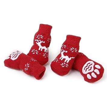 Calcetines del gato perro - TOOGOO(R) Calcetines antideslizantes de reno de proteccion de pata del gato perro de Navidad M: Amazon.es: Juguetes y juegos