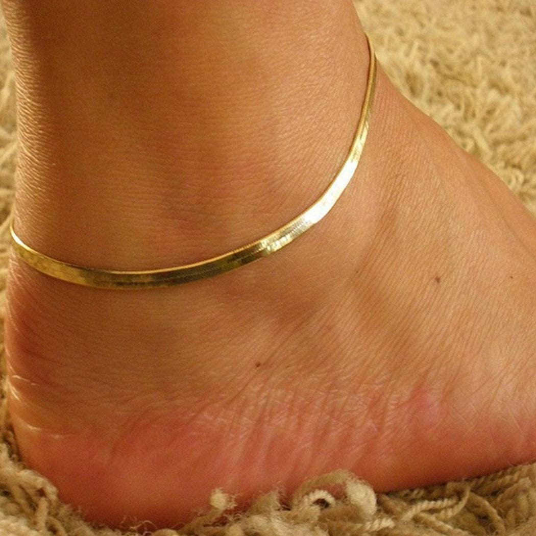 Earent Simple Anklet Gold Snake Bone Ankle Bracelets Chain Foot Jewelry Adjustable for Women and Girls