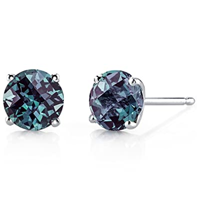 peora carats white karat gold cut radiant stud earrings created fashion alexandrite jewelry