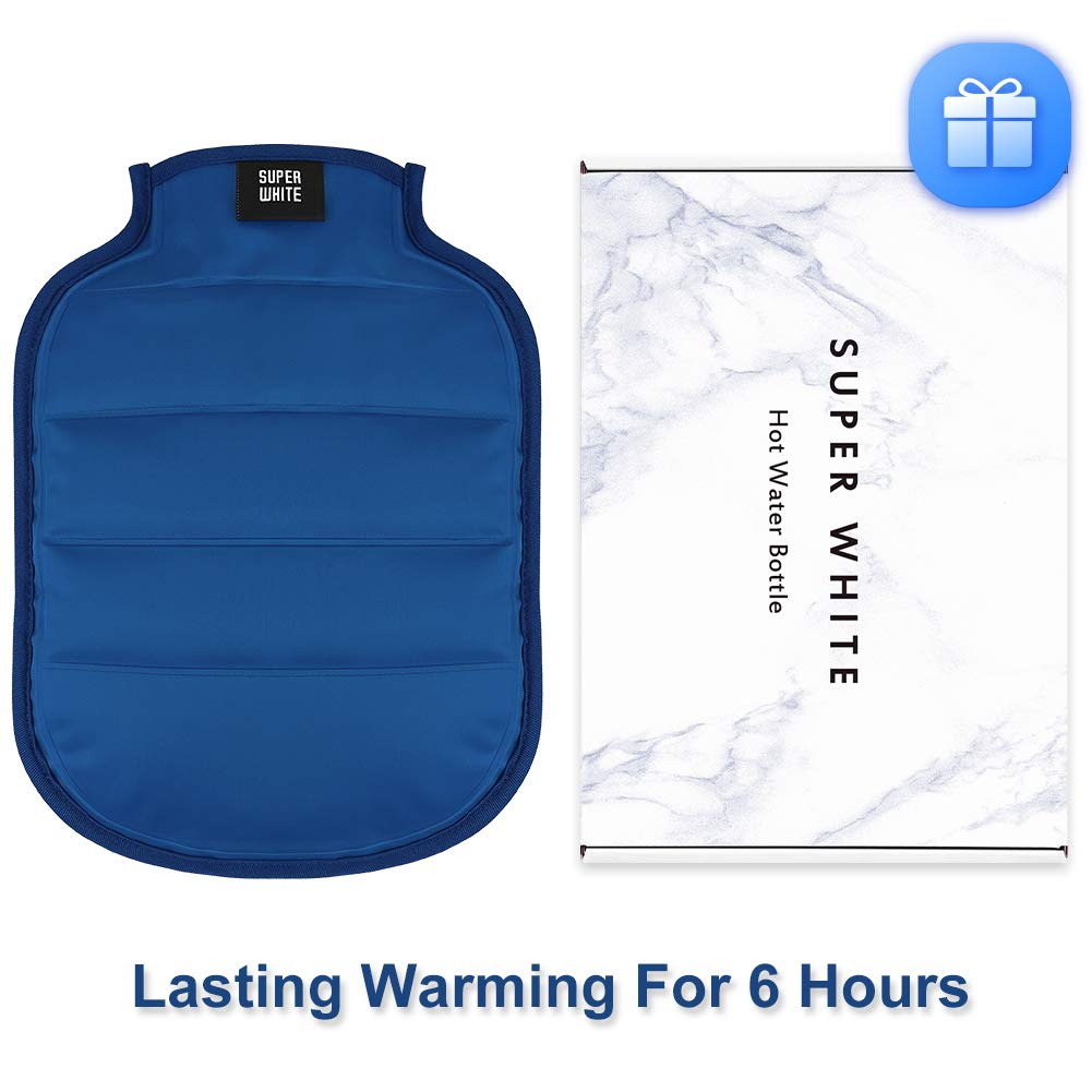 Rubber Hot Water Bottle with Cover, BPA Free Hot Water Bag for Back, Neck, Shoulder, Cramps Pain Relief or Heat Therapy - 2 Liter (Blue) by Super White