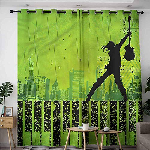 XXANS Doorway Curtains,Popstar Party,Music in The City,Room Darkening, Noise Reducing,W84x108L
