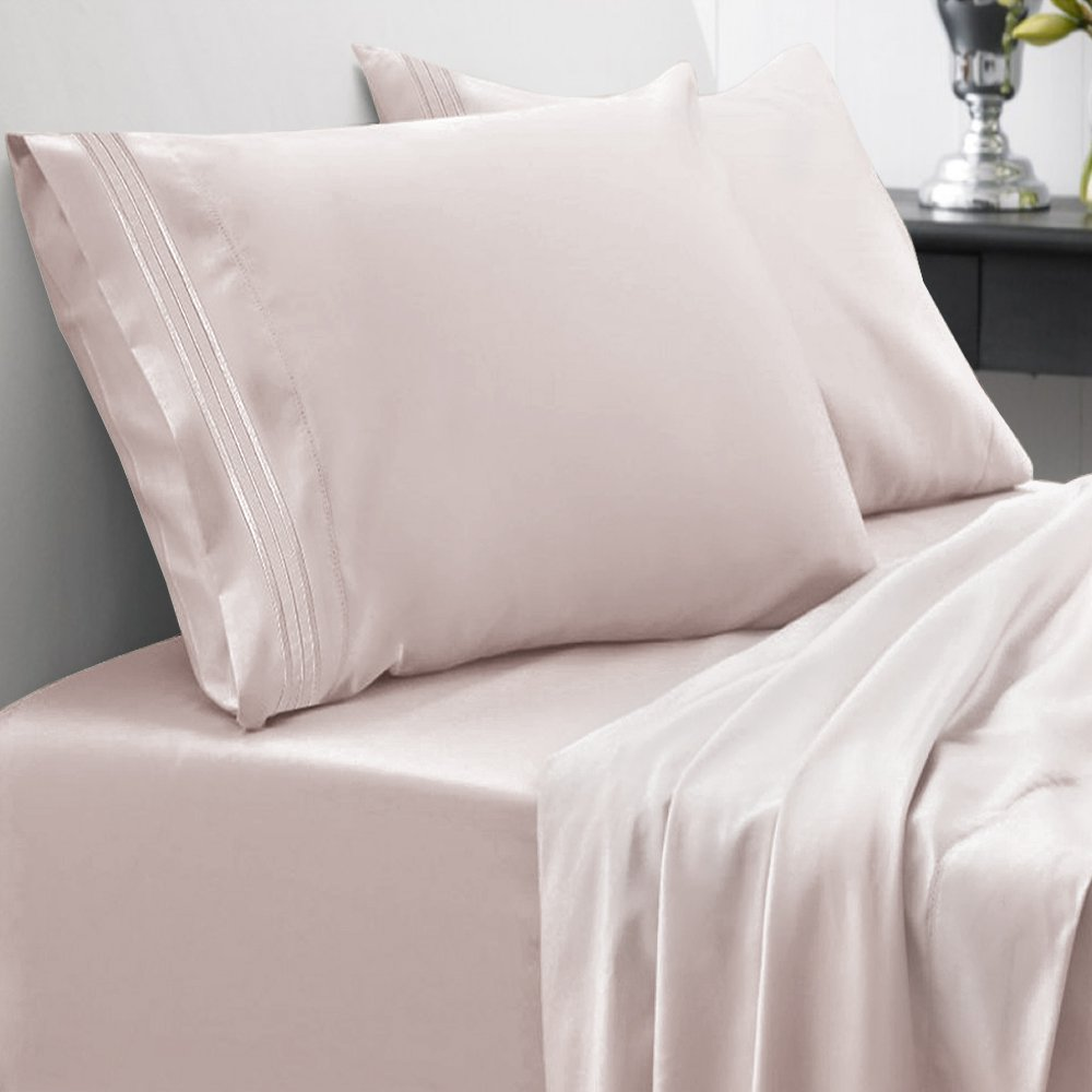Sweet Home Collection 1800 Thread Count Bed Sheet Set Egyptian Quality Brushed Microfiber 5 Piece Deep Pocket, Split King, Beige