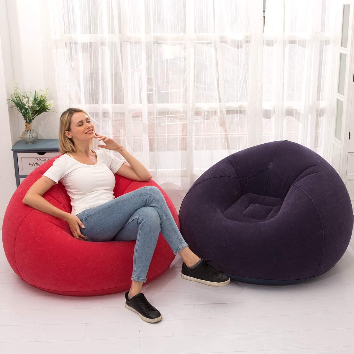 LONEEDY Inflatable Chair Sofa, Blow up Seat Gaming Lounger, Indoor Outdoor Camping Garden Stylish Soft Plush Fabric for Adults Kids Single (Spherical Red) Spherical Red