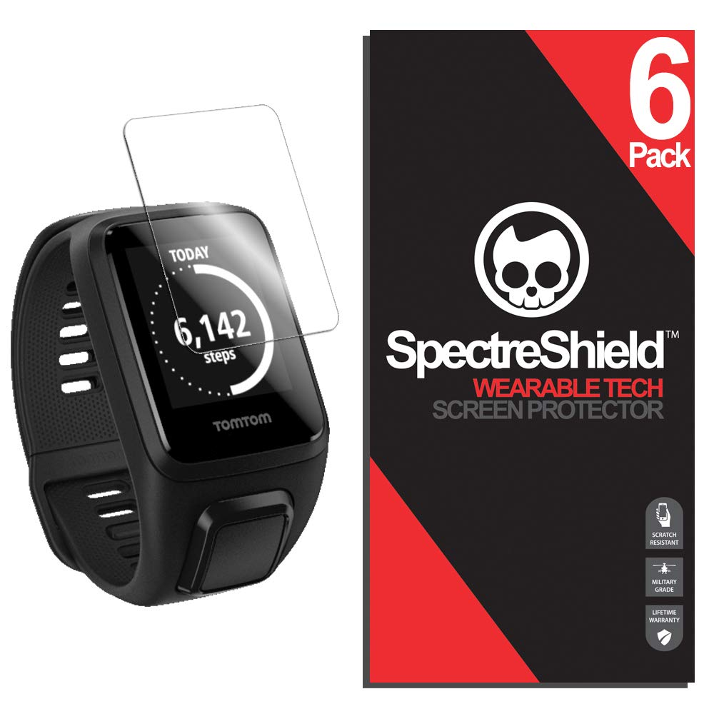 Spectre Shield (6 Pack) Screen Protector for Tomtom Spark 3 Accessory Tomtom Spark 3 Case Friendly Full Coverage Clear Film