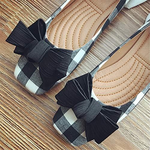 European work FLYRCX mouth flat shoes comfortable EU single bow 40 shoes shoes shallow casual plaid aqqdUw