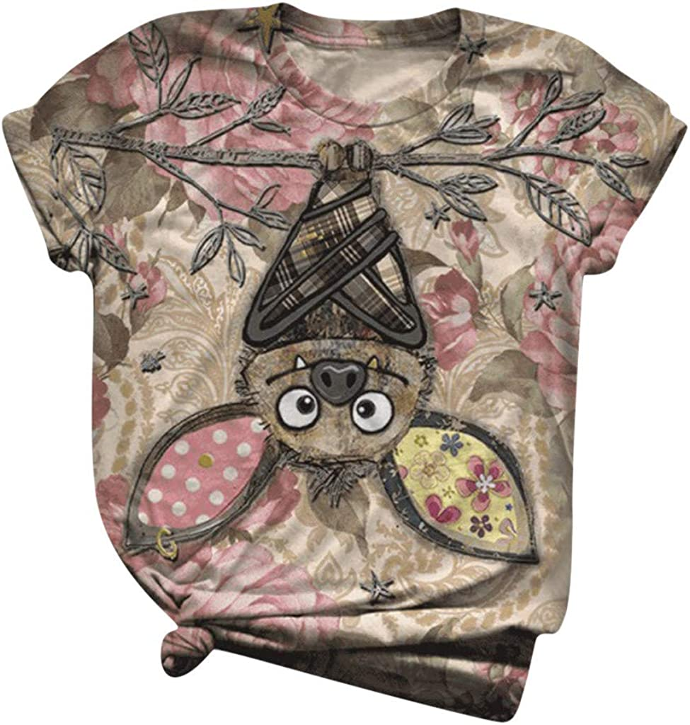 VANSOON Womens T-Shirts Teen Girls Summer Cute Print T Shirts Funny Floral Short Sleeve Graphic Cotton Tees Tops