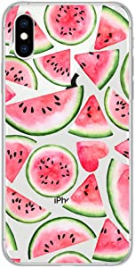 iPhone X Case/iPhone Xs Case,Blingy's New Summer Fruits Style Transparent Clear Soft TPU Protective Case Compatible for iPhone X and iPhone Xs (Pink Watermelon)