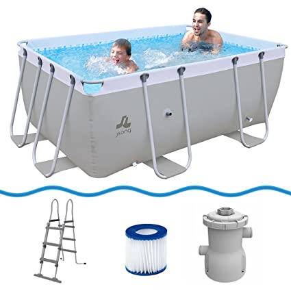JILONG Swimming Pool Set Passaat Grey - Piscina con Armazón de Acero 295x200x100 cm con Bomba