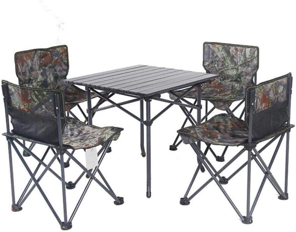 WOYQS Silla Camping Juego de 5 piezas Camuflaje Mesa portátil de ...