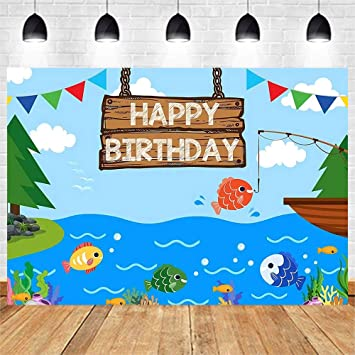 Angling themed quality card Happy Birthday Fishing on the Lake Pond Fisherman